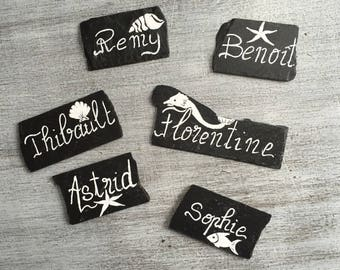 Set of 6 customizable slates rests for a festive table
