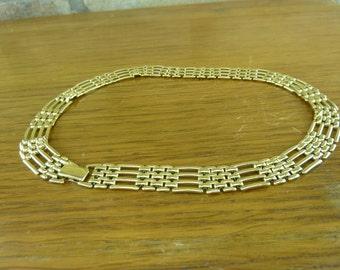 Vintage Napier gold toned linked gated  Choker or short necklace