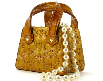 Digital Download Gold Purse & Pearls Clipart Photo | Stock Photo of Original Polymer Clay Sculpture | Handbag | Rhinestones