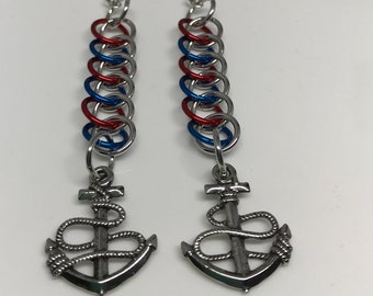 Sale 25% off Red Blue and Silver Half Persian Chainmaille Ships Anchor Dangle Earrings
