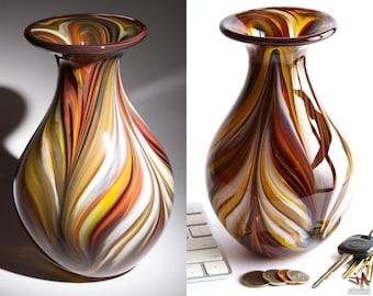Hand Blown Glass Vase - Bulbous Shape with Dark Earth Tone Streaks