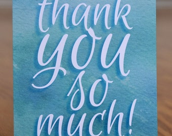 Watercolor Thank You Note Card Set of 12