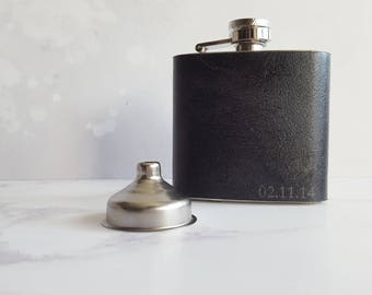 Personalized Black Leather Flask Initialled leather flask Personalised gift for him Rustic genuine leather hip flask Rum and whisky flask