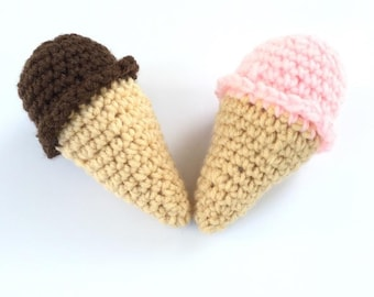 Set of 2 amigurumi ice cream baby rattles in pink and brown