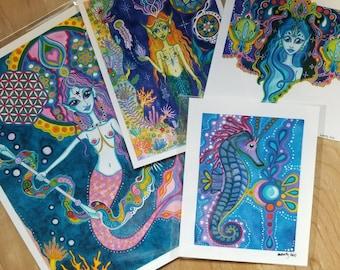 Mermaid Ocean Visionary Watercolor Art Print Pack