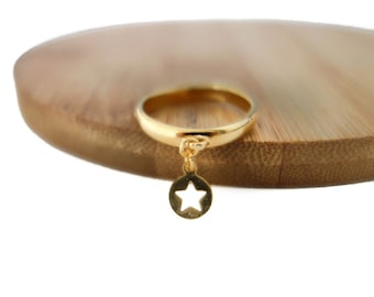 Ring with fine gold 24K Gold Star pendant