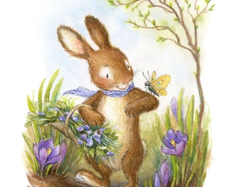 Spring Bunny - Illustration, Art Print, Nursery Decor, Easter Bunny, Rabbit, Woodland Animal, Butterfly, Crocus, Spring Art
