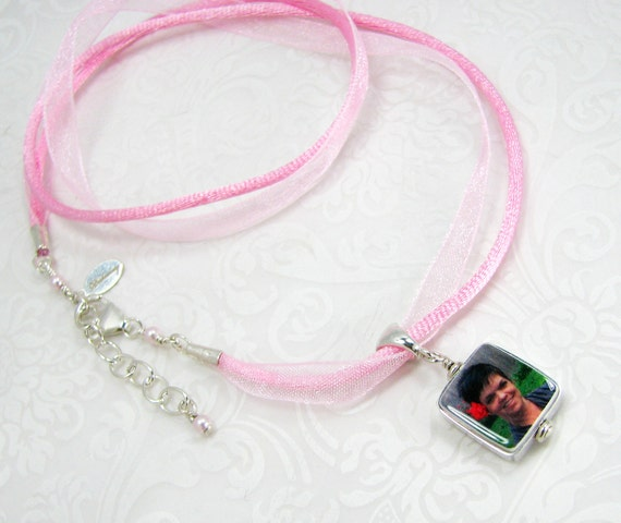 Pink Ribbon Necklace with a Sterling Framed Mini Photo Charm - FC4FlN
