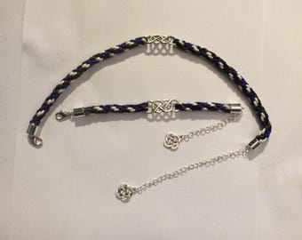Kumihimo Necklace and Bracelet with Celtic Conector and Celtic Charm