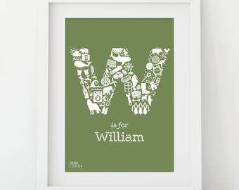 Personalised alphabet print - Letter W