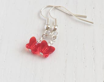 Crystal Butterfly Earrings, Cute Earrings, Gift For Her, Insect Earrings, Nature Lover Gift, Tiny Earrings, Butterfly Gifts, Matron Of Honor