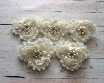 Bridal Party Hair Piece Set of 5 Cream ivory Flower Hair Clip- Bridesmaids Hair Clip- Flower girl Hair Clip- Bridal Hair Piece