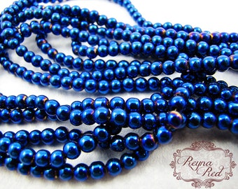 Electric Blue Electroplated Smooth Round Glass Beads, vitrail glass beads, peach glass beads, smooth round beads, glass - reynaredsupplies