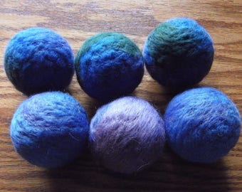6 count - #1 - Eco friendly, handmade, wool dryer balls appr. 2.25 inches - purple, blue, and green - FREE SHIPPING
