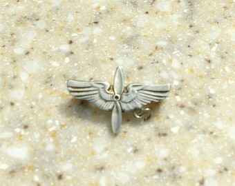 SALE Antique 1890-1910 Pilot wings C clasp catch pin Pre-WWI brooch badge 1900's medal Silver and brass propeller flight wings