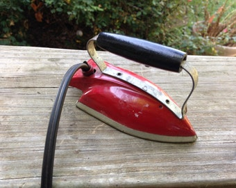 Vintage 1960's Era Metal Red and Silver Sunny Suzy TOY IRON with Cord