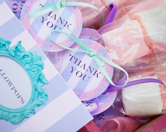 """Pink and Purple Princess Party 2"""" circle labels - editable PDF - add your own text"""