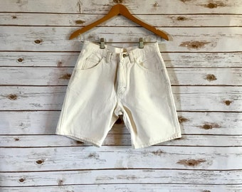 Vintage Off-White Denim Shorts, Vintage Wrangler Jean Shorts Size 29, Vintage Wrangler Off White Denim Shorts Size 29