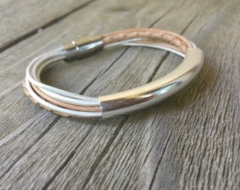 Sterling and Leather BoHo Bangle