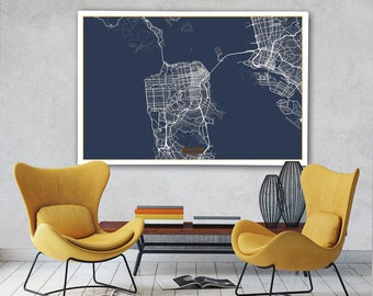 """SAN FRANCISCO Canvas Map Large 60""""x40"""" Stretched Canvas Map San Francisco California City Map Print San Francisco poster map art Jack Travel"""