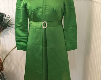 1960's Womens Bright Green Satin Jackie O Style Dress with Rhinestone Belt by Shannon Rodgers for Jerry Silverman Size 8-10- green satin