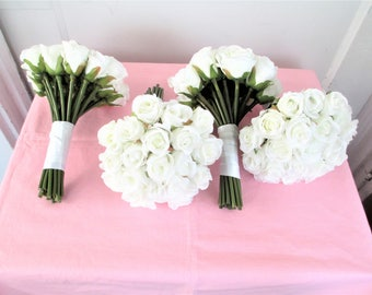 Bridesmaid bouquets etsy white rose bridesmaids bouquets bridesmaid flower bouquet set mightylinksfo