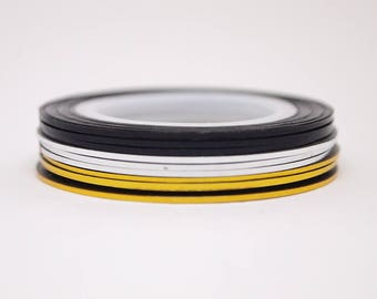 Striping tape in gouden, zilveren en zwarte kleuren / zelfklevende nagel nagel kunst tape / 1 mm nail striping tape / folie Nail / Nail art supplies