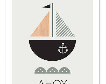 Modern Nautical (Black and  Grey) Modern Art Print , Nursery Art, Nursery Decor, Modern Nursery Art, Boys Room Art.