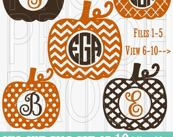 Monogram SVG Files Set of 10 cutting files includes svg/png/jpg formats! Commercial use approved! monogram svg pumpkin {no letters included}