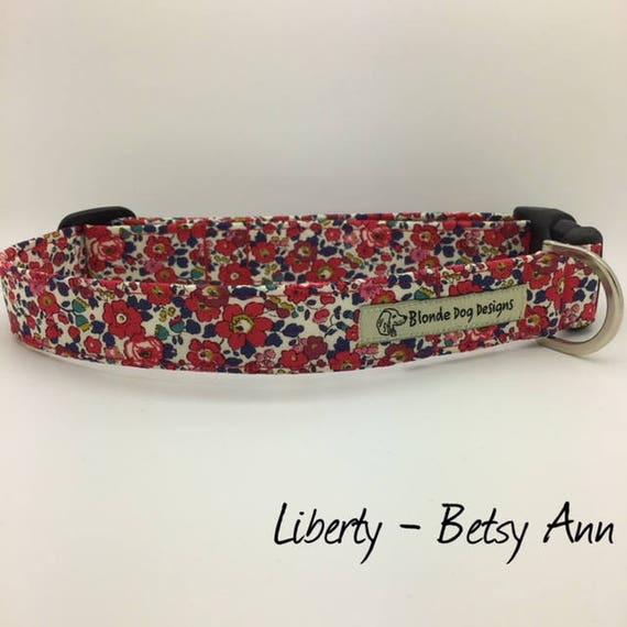 Liberty Dog Collar, or, Liberty Dog Lead, Betsy Ann Red, Floral Dog Collar, Floral Dog Lead, Luxury Dog Collar