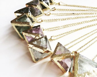 Flourite & Gold Necklace, Crystal Jewellery, Flourite Pendant, Gold Plated, Gold Electroformed, Gemstone Necklace, lalaboho
