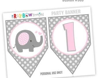 PRTYB-909: Cute Elephant 2 Party Banner