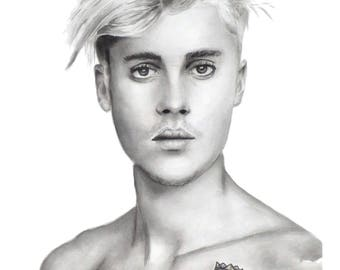Justin Bieber - Watercolour Portrait A4 Art Print from Original Painting in Black & White