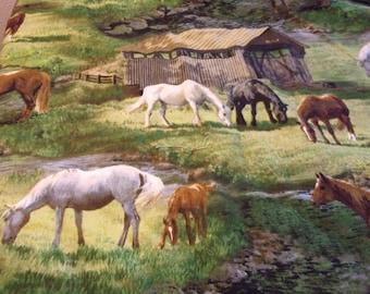 Grazing Horses Cotton and Fleece Baby Blanket