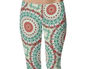 Adult Christmas Leggings, Holiday Leggings, Red and Green Mandala Yoga Pants, Womens Printed Tights