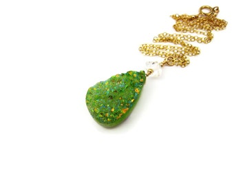 Green Druzy Necklace Lime Green Druzy Necklace Gemstone Necklace Wire Wrapped Herkimer Diamond Tear Drop Shaped Geode Jewelry Gift For Her