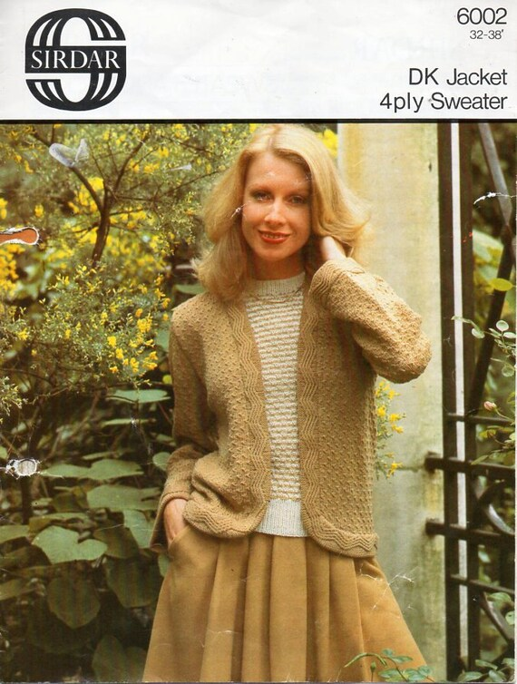 womens DK jacket 4ply sweater Knitting Pattern PDF ladies
