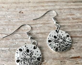 Sand Dollar Earrings \\ Sand Dollar Jewelry \\ Beach Earrings \\ Beach Jewelry \\ Silver Jewelry \\ Mother's Day Gift