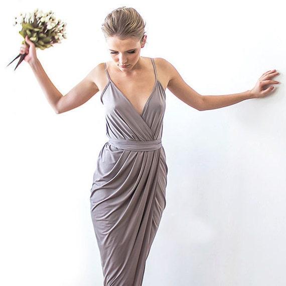 Wickeln Sie Maxi Taupe Brautjungfern Kleid Maxi Träger Taupe