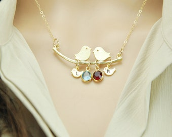 Mother's day gift for mom, mother gift, grandma necklace, birthstone necklace, family necklace, mom bird necklace, bird jewelry, mom jewelry