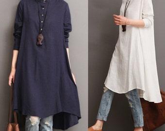 Asymmetrical linen dress long shirt blouse dress long sleeve spring autumn dress linen tunic maxi top linen top plus size clothing