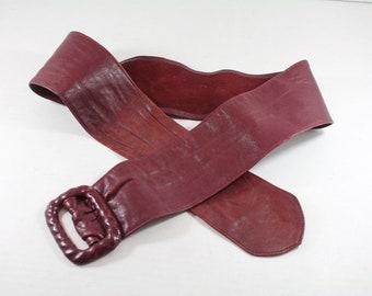 Soft Leather Cinch Belt Vintage Burgundy