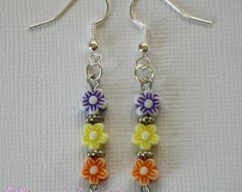 Handmade Flower Bead Earrings
