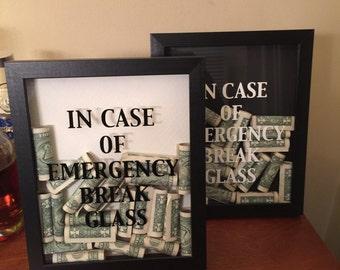 In Case of Emergency Break Glass Shadow Box Art