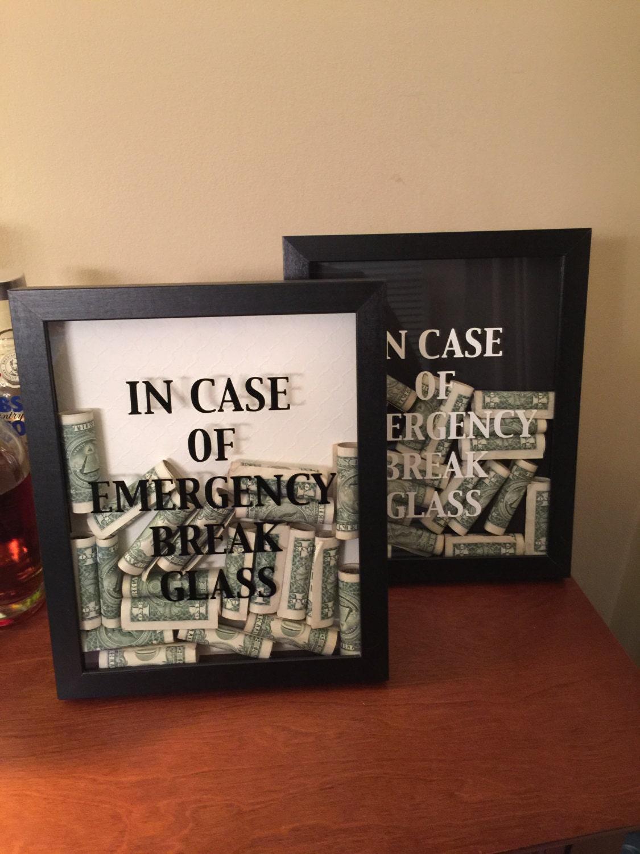 Im Falle einer Notbremse Shadow Box Glaskunst