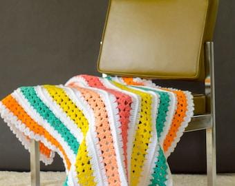 Handmade Crochet Baby Blanket, Crochet Granny Squared Blanket, Multi Color Rainbow Baby Blanket, Throw Lap Blanket, Baby Shower Gift