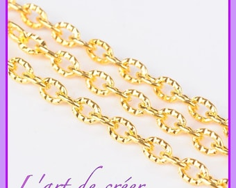 1 meter of gold chain, gold, link 4 x 3 mm hammered, Chiseled, ridged