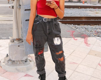 Love Calling Customized Distressed Vintage Lee Jeans