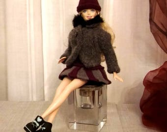 Complete doll dress, jacket and hat, grey and burgundy color, handmade