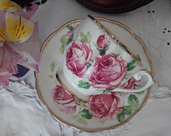 Queen Anne China, Lady Margaret, Pink Roses, Teacup and Saucer, Cabbage Roses, Gold Trim, Vintage Teacup, Gift for Her